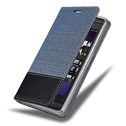 Cadorabo Book Case Works with BlackBerry Z10 in Dark Blue Black - with Magnetic Closure, Stand Function and Card Slot - Wallet Etui Cover Pouch PU Leather Flip