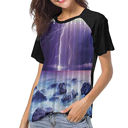 T Shirts,Artsy,Beautiful Storm Lightning Sky Scary Ocean Rocks Night View Theme Art Prints for Natural Life Decor Colors,Purple White Navy Gray S-XXL Womens Shorts