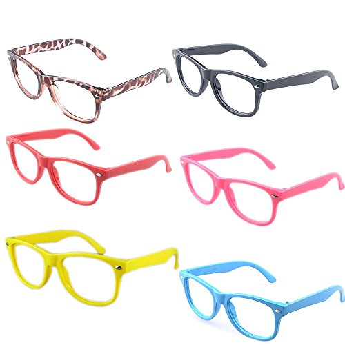 Kaptin 6 Pack Retro Children Stylish Cute Glasses Frame Without Lenses, Childrens Fake Eye Glasses]()