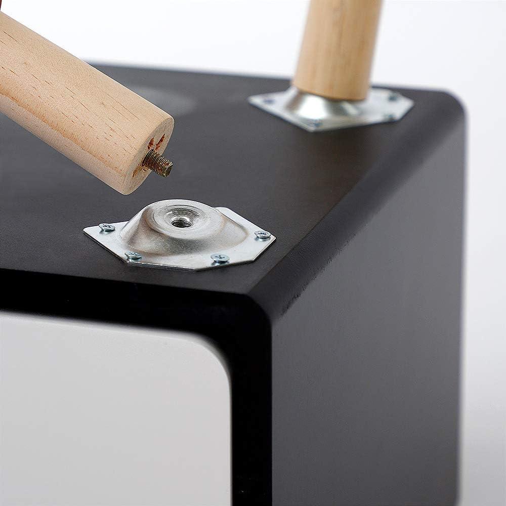 Blanc- Noir-Lot de 1, 42x32x50cm MUPAI Tables de Chevet avec 2 Tiroirs Scandinave pour Chambre//Salon//Bureau
