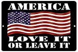 Rogue River Tactical American Patriotic Metal Tin Sign Wall Decor Man Cave Bar USA Flag America Love It or Leave It