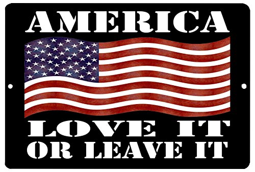 - Rogue River Tactical American Patriotic Metal Tin Sign Wall Decor Man Cave Bar USA Flag America Love It or Leave It