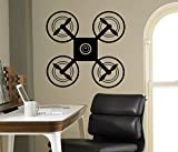 Drone UAV Wall Vinyl Decal Air Quadcopter Wall Sticker Aircraft Home Wall Art Decor Ideas Interior Removable Kids Room Design 4(drn)