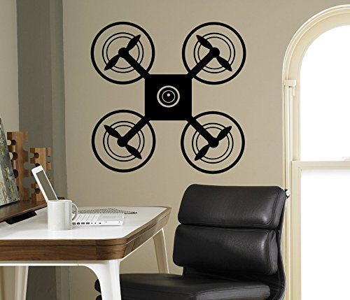 Drone UAV Wall Vinyl Decal Air Quadcopter Wall Sticker Aircraft Home Wall Art Decor Ideas Interior Removable Kids Room Design 4(drn) by Wall Vinyl Decals