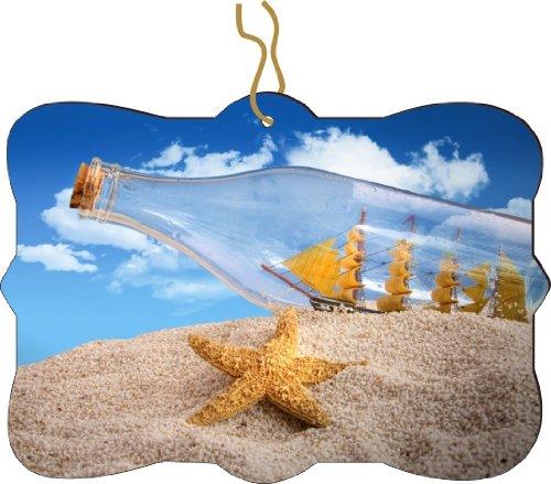 Rikki KnightTM Ship in Bottle on Sand Design Tree Ornament / Car Rear View Mirror Hanger