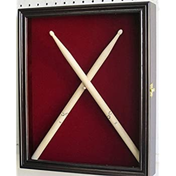 drum stick display case shadow box wall cabinet with door mahogany musical. Black Bedroom Furniture Sets. Home Design Ideas