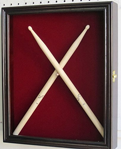 Drum Stick Display Case Shadow Box Wall Cabinet, with door. (Mahogany) (Frame Mahogany Door)
