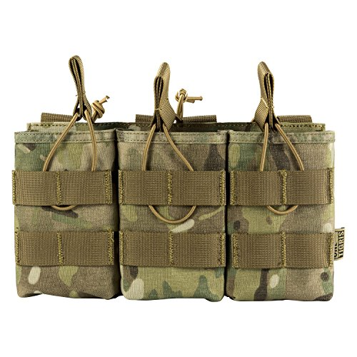 OneTigris Open-Top Triple Mag Pouch DD07 for M4 M14 M16 AK47 AK74 G36 Magazine (Multicam - 500D Cordura Nylon)