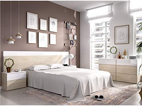 HABITMOBEL Pack Dormitorio; Cama 4 cajones con Cabecero de 236cm + 2 mesitas + Cómoda de 6 cajones.