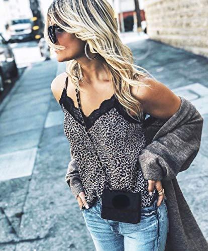 Mua Women's Sleevless Animal Leopard Skin Lace Trim V Neck Cami (Leopard, XL)