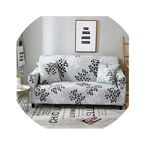 ACOMY Floral Leaves Printing Sofa Cover Tight Wrap All-Inclusive Couch Cover for Living Room Anti-Dirty Furniture Cover 1/2/3/4 Seater,Silver,4seater 235-300cm