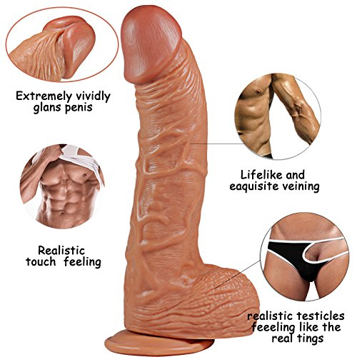 Realistic Dildos, Suction Cup Dildos 10 inch Huge Cock Dildos Super Big Size Penis with Handsfree Suction Cup Adult Sex Toy for Vaginal, G-Spot,Anal Play(Brown)