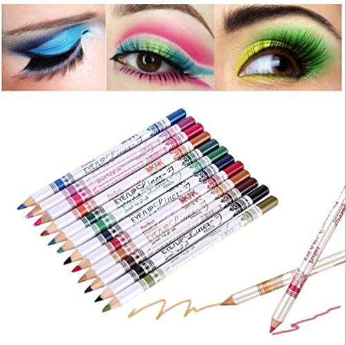 1 Set (12 pcs) Multifunction Universal Waterproof Assorted Color Eyeliners Makeup Color Eyebrow Pencils Contour Eye Shadow Pencils Lip Pencil Stage Makeup Accessories