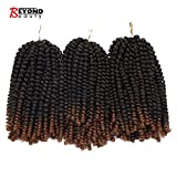 #10: 3 Pack Spring Twist Crochet Braids Bomb Twist Crochet Hair Ombre Colors Synthetic Fluffy Hair Extension 8inch 110g(T1B-30)