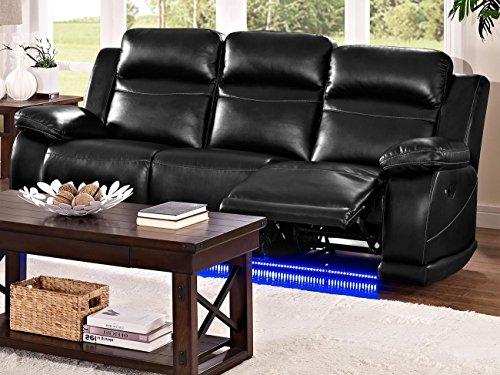 Venus Dual Motion Recliner Sofa in Premier Black