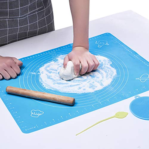 (MeritChoice Silicone Pastry Mat 19×16 inch Silicone Baking Mat For Rolling Dough, Multipurpose Heat Resistant Nonskid Nonstick Table Placemat Pad (Blue))