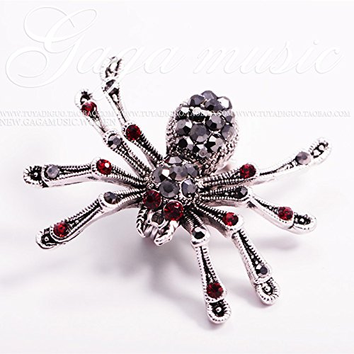 - Black retro red eyes spider crystal brooch pin collar pin corsage creative holiday gift