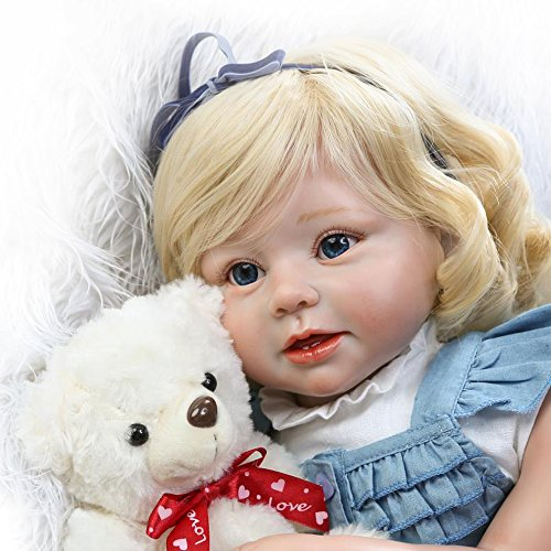 Soft Silicone Realistic Reborn Toddlers Girls Baby Dolls 28'' Babies Kids Toys With Blonde Hair by Hotu