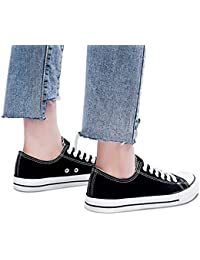Womens Canvas Sneakers Low Cut Lace Ups Casual Walking Shoes