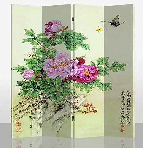 Fine Asianliving Oriental Room Divider Paravent Folding Screen 4 Panel (180x160 cm) Furniture Home Decor Printed Canvas Screens Two-Sided Both-Sided Oriental Asian Chinese Japanese Style Art - 175