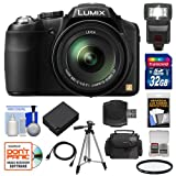 Panasonic Lumix DMC-FZ200 Digital Camera (Black) with 32GB Card + Case + Battery + Flash + Filter + Tripod + Accessory Kit