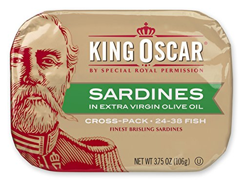 King Oscar Two-layer Sardines in Olive Oil Cross-Pack, 3.75 Ounce (Pack of 12) (Packaging May Vary)