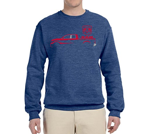 Wild Bobby Dodge RAM Silhouette | Mens Planes/Trains/Automobiles Crewneck Graphic Sweatshirt, Vintage Heather Blue, (Racing Mens Crewneck Sweatshirt)