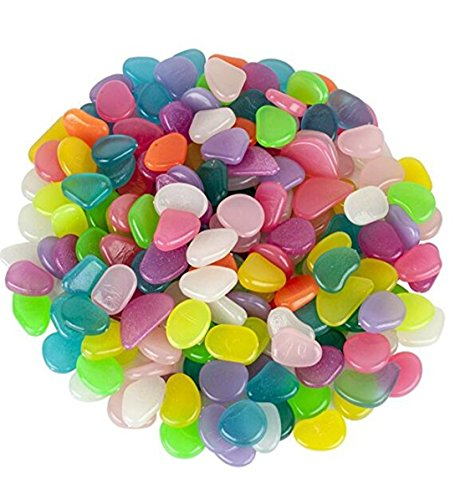 (Heyuni.100pcs Glow in the Dark Garden Pebbles Stone Luminous Decorative Stones for Your Fantastic Garden or Yard Outdoor Fish Tank in Colorful Color)