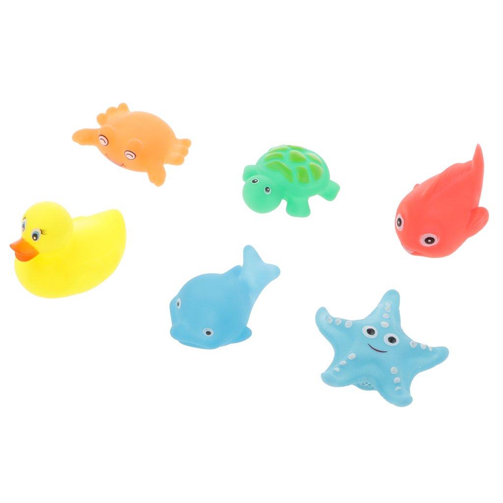 MagiDeal 6pcs Juguete Tiempo del Baño Goma Chirriante de Mini Animales Piscina Bebés: Amazon.es: Juguetes y juegos