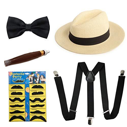 1920s Mens Accessories Manhattan Fedora Hat Suspenders Pre Tied Bowtie Toy Cigar Fake Mustache (E)