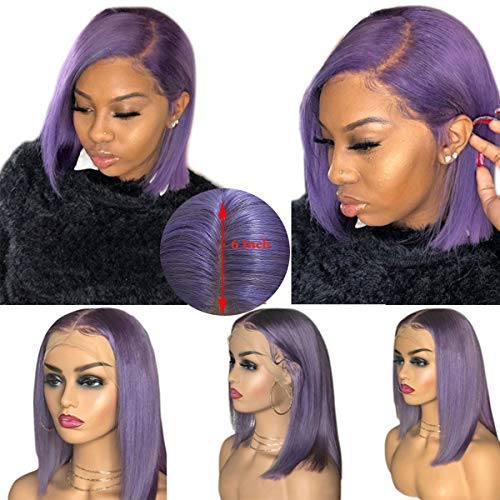 Straight Lace Front Wigs with Baby Hair Short 13x6 Bob Wigs Purple Color Glueless Remy Long Lace Front Wig Full End 10inch for $<!--$91.99-->