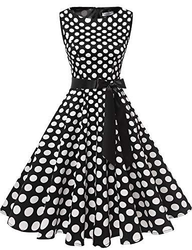 Gardenwed Women's Audrey Hepburn Rockabilly Vintage Dress 1950s Retro Cocktail Swing Party Dress Black White Dot -