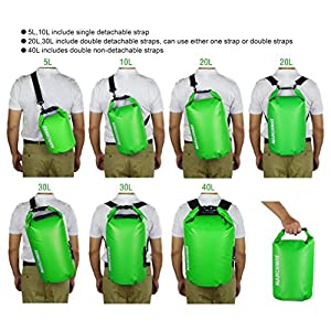 Floating Waterproof Dry Bag 5L/10L/20L/30L/40L, Roll Top Dry Sack for Marine Kayaking Rafting Boating Swimming Camping Hiking Beach Fishing Skiing Snowboarding Hunting Climbing Surfing (Green, 20L)