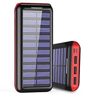 Portable Charger 24000mAh Power Bank High Capacity Solar charger with Dual Input Port ( Double-Speed Recharging ) & 3 USB Ports External Batteries for Smartphones,Android Phones and other Smart Devices - Red