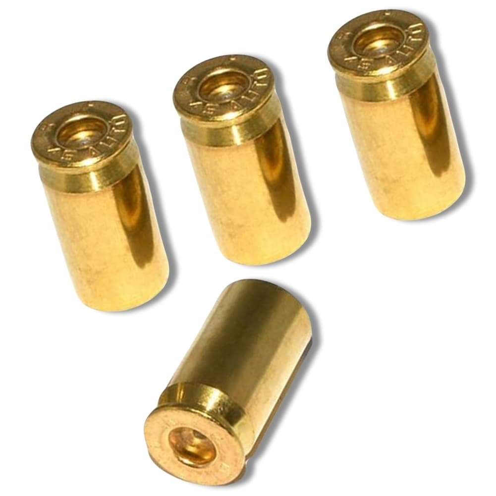 "(4 Count) ""45 Cal Bullet Shells Easy Grip Design"" Valve Stem Dust Cap Seal Made of Genuine Anodized Brass Metal {Gold Color - Hard Metal Internal Threads for Easy Application - Rust Proof}"