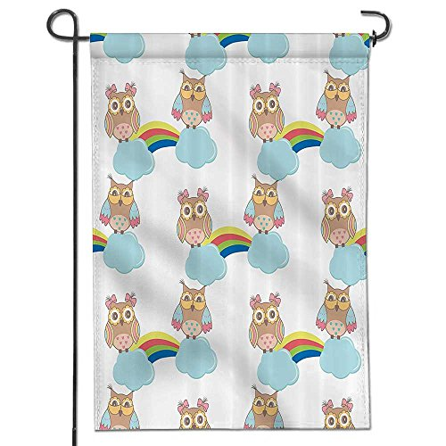 Welcome Garden Flag Pattern Owls On Clouds With Rainbows Sky