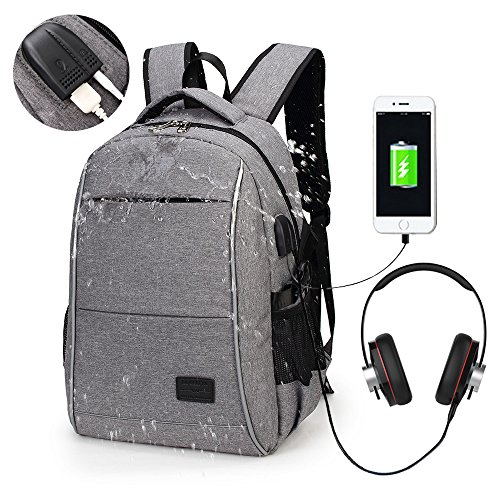 blo 15.6 Inch College Backpack with USB Charging Port & Headphone interface Business Laptop Backpack Light Weight Travel Backpack for Men Women (Grey) (Gray Womens Backpack)