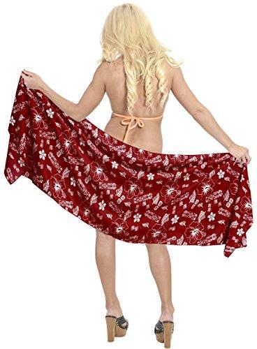 señoras de la mitad de las mujeres mini-sarong pareo traje de envoltura de encubrimiento beachwear del traje de baño de la falda Rojo