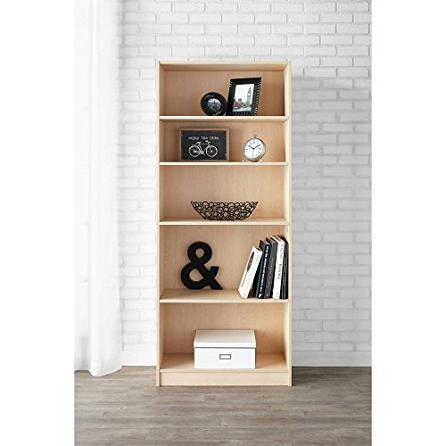 Natural Bookcase Finish - Mainstay 5-Shelf Standard Wood Bookcase, Birch/Natural Finish + Include Free Furniture Dust Cloth
