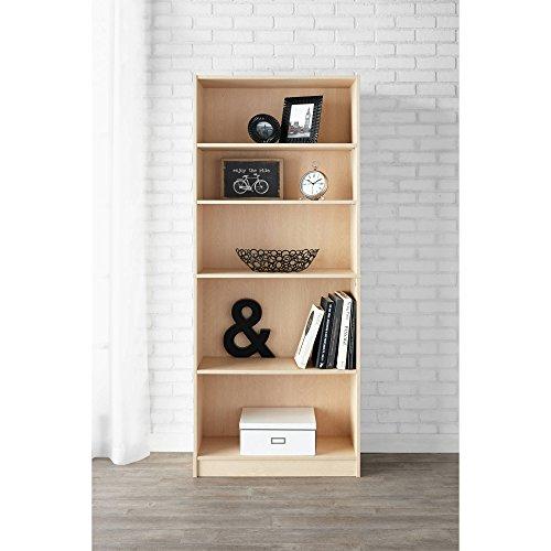 Mainstay 5-Shelf Standard Wood Bookcase in Birch/Natural Finish + Free Multi-Surface Furniture Polish ()