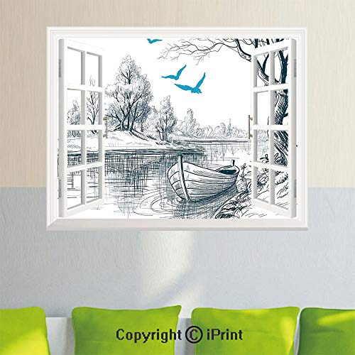 Delicate Wall Decal Sticker,Boat on Calm River Trees Birds Twigs Sketch Drawing Clipart Water Minimalistic,27.5x23.6inch,Open Simulation Window StickersWhite Gray Blue ()