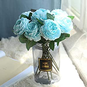 Quaanti Artificial Flowers, Fake Flowers Silk Plastic Artificial Roses and Hydrangea Bridal Wedding Bouquet for Home Garden Party Wedding Decoration (Blue) 68
