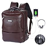 VIDENG Business Backpack with USB Charging Port and Headphone Interface,Water Resistant Microfiber Leather Laptop Bag fit for 15 inch,Anti-Theft School Bookbag for College Travel (U1-Brown)