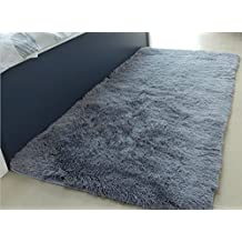ACTCUT Soft Indoor Modern Shag Area Silky Smooth Rugs Living Room Carpet Bedroom Rug for Children Play Solid Home Decorator Floor Rug and Carpets. 2.5 Feet X 5 Feet(Grey)