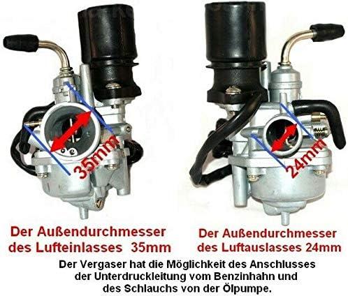 Sport VERGASER KOMPLETT E-Choke f/ür LONGJIA LJ50QT-2L LJ50QT-K Exactly 50 CCM Unbranded