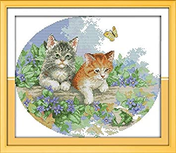 Preprinted Embroidery kit for Beginner Happy Forever Cross Stitch Kits 11CT Stamped Patterns for Kids and Adults Animals Cat D176 cat, Size 21x16