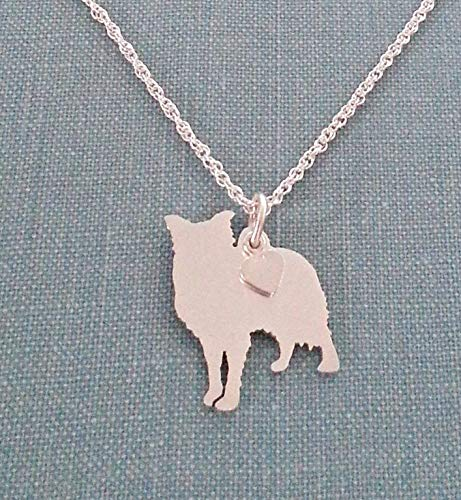 - .925 Sterling Silver Border Collie Dog charm Necklace