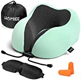 homiee memory foam travel pillow the best neck pillow with 360 head and neck support soft pillow
