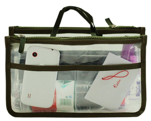 Hoxis @Transparent Bag in Bag Insert Comestic Gadget Purse Organizer with Free Hoxis Gift Pouch(GREEN)