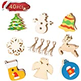 "Wooden Christmas DIY Ornaments, Unfinished Wood Pieces Slices Scrafts for Kids, Christmas Tree Craft Supplies 40Pcs 3.5"" 8 Style Wooden Discs with Holes"